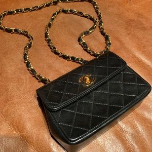 Chanel vintage authentic mini crossbody black